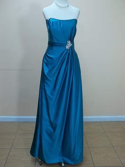 Impression Bridal Teal Satin 1713 Formal Bridesmaid/Mob Dress Size 12 (L)