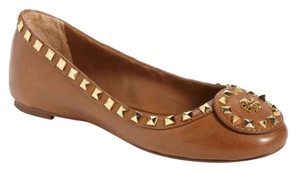 7d44af0ab1a1 Tory Burch Tan New Dale Studded Leather Ballet Flats Size US 11 ...