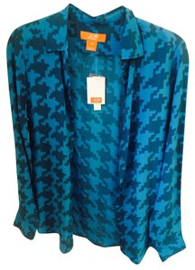 Joe Fresh Silk Silk Button Down Button Down Shirt teal