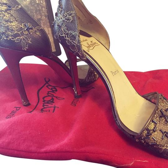 Christian Louboutin Bronze with blue crystals Formal