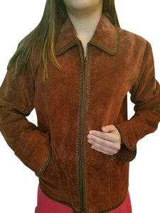 Coldwater Creek Trim Like New Cinnamon Brown size Small! No number size! Leather Jacket