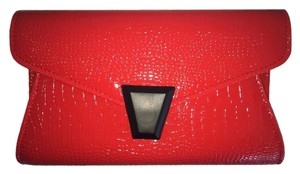 Barami Croc Faux Leather Neon Summer Casual Red Clutch
