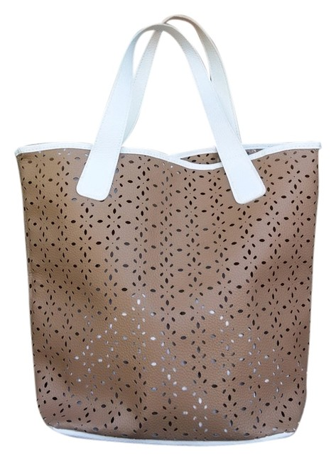 Item - Brown White Pvc Suede Tote