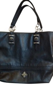 Vera Wang Tote in Black Faux Leather with Silver Chain Accent Straps