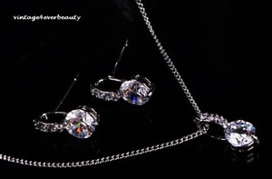 Cz Bridal Necklace Set Silver