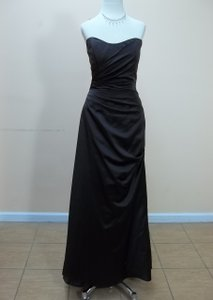 Impression Bridal Chocolate Satin 1733 Formal Bridesmaid/Mob Dress Size 12 (L)