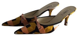 Prada Black, peach, gold, ivory. Mules