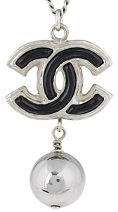 Chanel CHANEL Silvertone Chain and Black Enamel CC Pendant Necklace