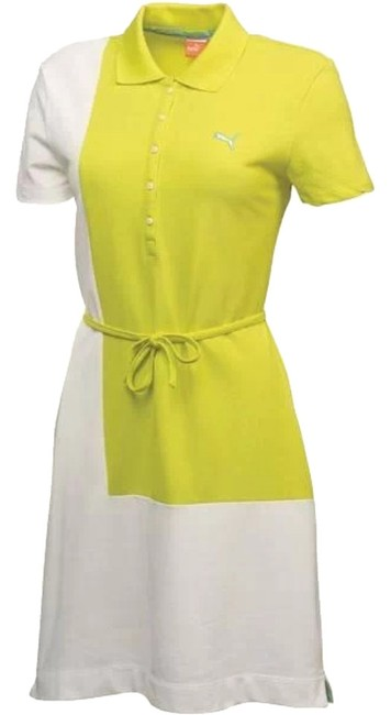 Item - White & Yellow Tennis/Golf Color Block Knee Length Short Casual Dress Size 4 (S)