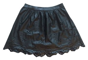 Urban Outfitters Unworn Eyelet Mini Skirt Black Leather
