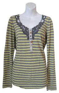 Free People T Shirt Yellow and Gray