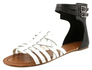 Jessica Simpson Leather Classic Summer Blk White Sandals