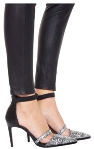 Helmut Lang Helmet Lang Snakeskin Ankle Strap Pumps/Black/White Pumps