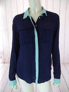 Anthropologie Maeve Rayon Hidden Button Front Chic Top Navy Blue, Contrast Aqua