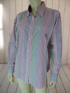 Tommy Hilfiger Womens Striped Cotton Button Front Classy Top Multi-Color