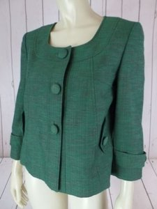 Antonio Melani Antonio Melanie Blazer Green Textured Heather Cotton Viscose Linen Blend Retro