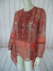 Other Love Sam Anthropologie Tunic Paisley Poly Asymmetrical Hem Sweater