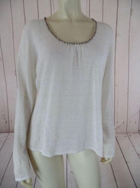 Item - Evelyn Sweater Top Beige Linen Viscose Pullover Sheer Fine Knit Beads Chic