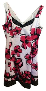 Jones New York short dress White with Pink Flowers Easter Floral Cocktail on Tradesy