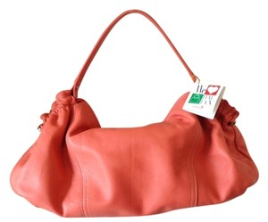 Carbotti Orange Leather Made In Italy Satchel in Coral
