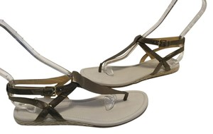 Cole Haan Thong T Bronze leather Mini Espadrille double ankle straps Sandals