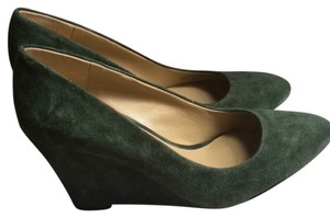Ann Taylor Suede Green Wedges