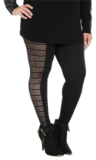Item - Black Insert W (Size 1x And/Or 14/16) Leggings - New W/Out Tags Hosiery