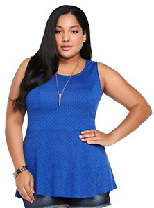 Torrid 2x 18/20 Polka Dot Peplum Top Blue