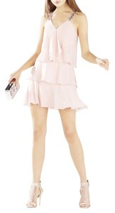 BCBGMAXAZRIA short dress LIGHT SHELL Carlotta Ruffle Halter on Tradesy