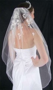 Ivory Medium Beaded Lace Fingertip Bridal Veil