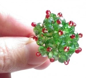 Crystal Rondelle glass Beads AB Fern Green red silver adjustable flower ring