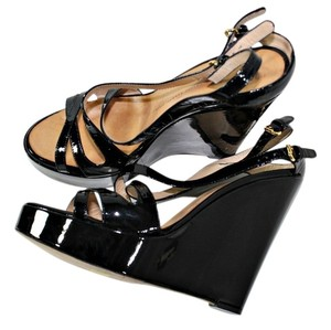 Giuseppe Zanotti Patent Leather Ankle Strap Black Wedges