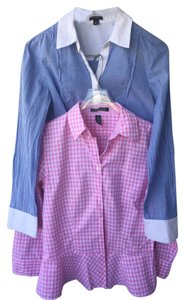 Ann Taylor Peplum Checkered Striped Button Down Shirt Blue Pink White