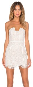 Lovers + Friends White Lace Cocktail Strapless Dress