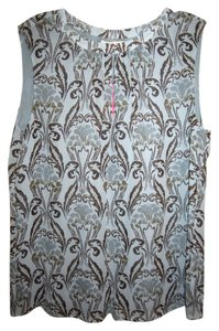 Tory Burch Top Blue Gray and Brown