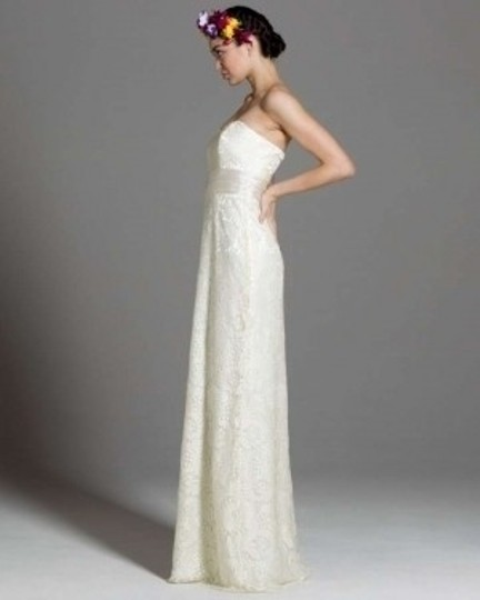 Badgley Mischka Ivory Silk Lace Gown Vintage Wedding Dress Size 10 (M)