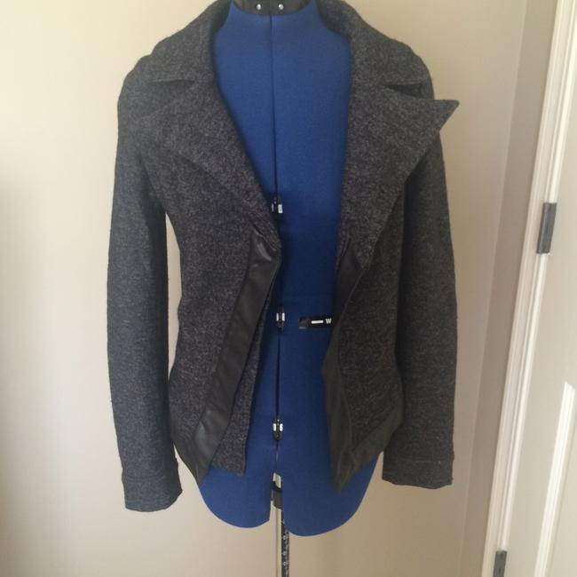 Sportmax Wool Fall Designer Coat Leather Trim Grey Jacket