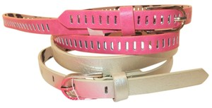 Betsey Johnson NWT Betsey Johnson Skinny Belts 2 for 1 L Large Metallic Gold + Coral pink cutout BB2271