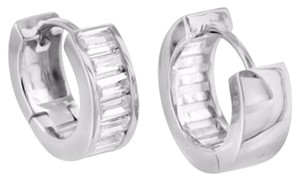 Other Baguette Cut Lab Diamond 14k White Gold Finish 925 Silver Hoop Huggie Earring
