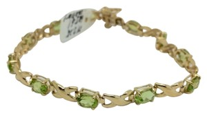 Other 14K Yellow Gold Natural Peridot Bracelet 7 Inches
