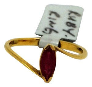 14K Yellow Gold Natural Marquise Shape Ruby Ring