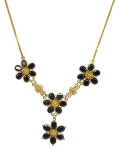 14K Yellow Gold Natural Sapphire Necklace
