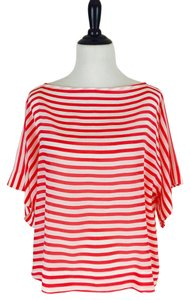Ella Moss Silk Bold Stripe Bohemian Panel Top Carmine