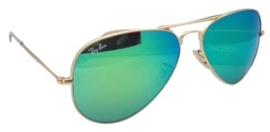 Ray-Ban New Ray-Ban Sunglasses RB 3025 Large Metal 112/19 58-14 Matte Gold Aviator Frame w/Green Mirror