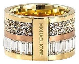 Michael Kors NWT Michael Kors Rose Gold Barrel Pave Ring Size 7