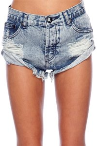 One Teaspoon Planet Stone Cold Fox Lovers & Friends For Love And Lemons Coachella Mini/Short Shorts Blue