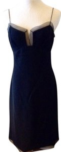 Giorgio Armani Chiffon Scallop Wool Crepe Vintage Dress