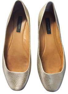 Ann Taylor Leather Leather Gold Flats