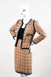 Chanel Chanel Fw 2008 Tan Black Woven Button Embellished Jacket Skirt Suit