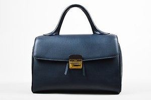 Céline Celine Navy Leather Top Satchel in Blue